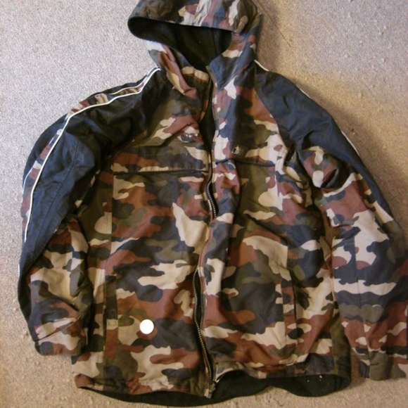 Reversible to Black Fleece Insulated Waterproof Kids Woodland Camo Rain Jacket